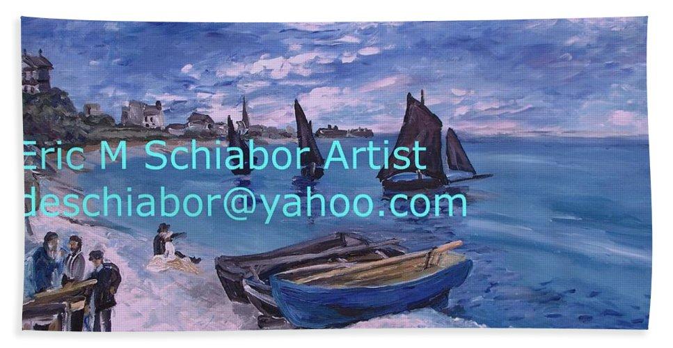 Beach At Saint Address Bath Sheet featuring the painting Beach At Saint Address by Eric Schiabor