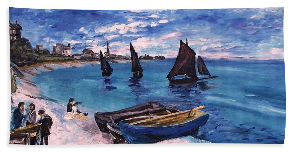 Monet Hand Towel featuring the painting Beach At Sainte Adresse Monet by Eric Schiabor