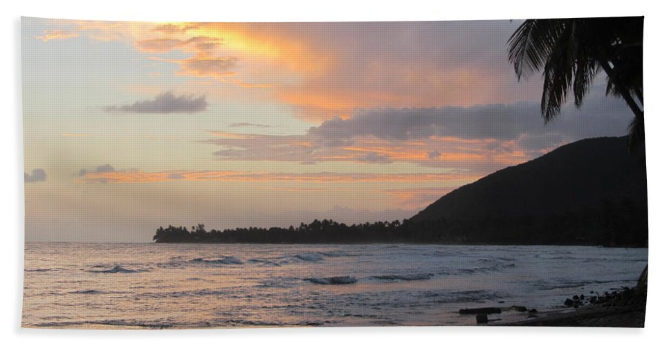 Beach Bath Sheet featuring the photograph Beach At Sunset 6 by Anita Burgermeister