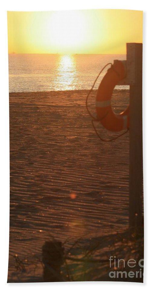 Beach Hand Towel featuring the photograph Beach At Sunset by Nadine Rippelmeyer