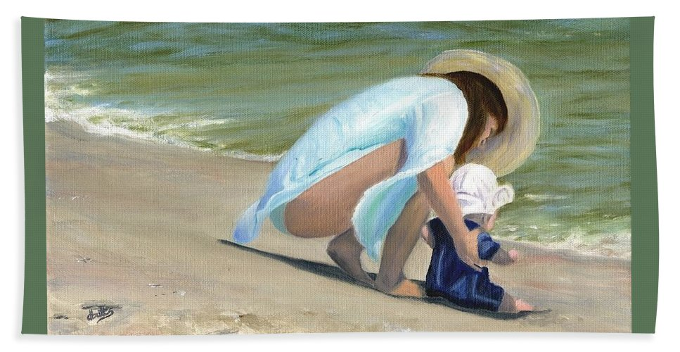 Beach Scenes Hand Towel featuring the painting Beach Baby by Deborah Butts
