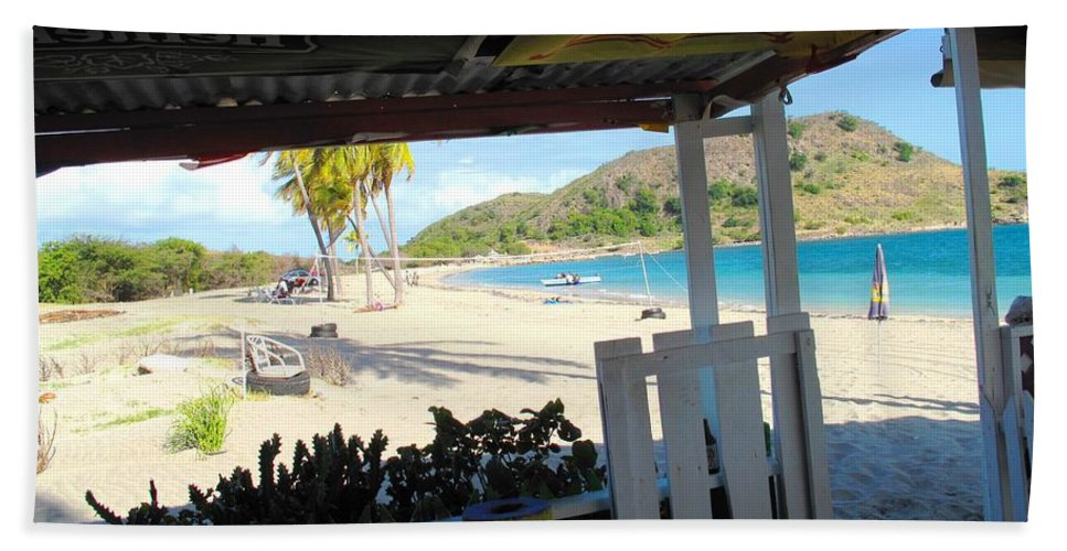 St Kitts Hand Towel featuring the photograph Beach Bar In January by Ian MacDonald