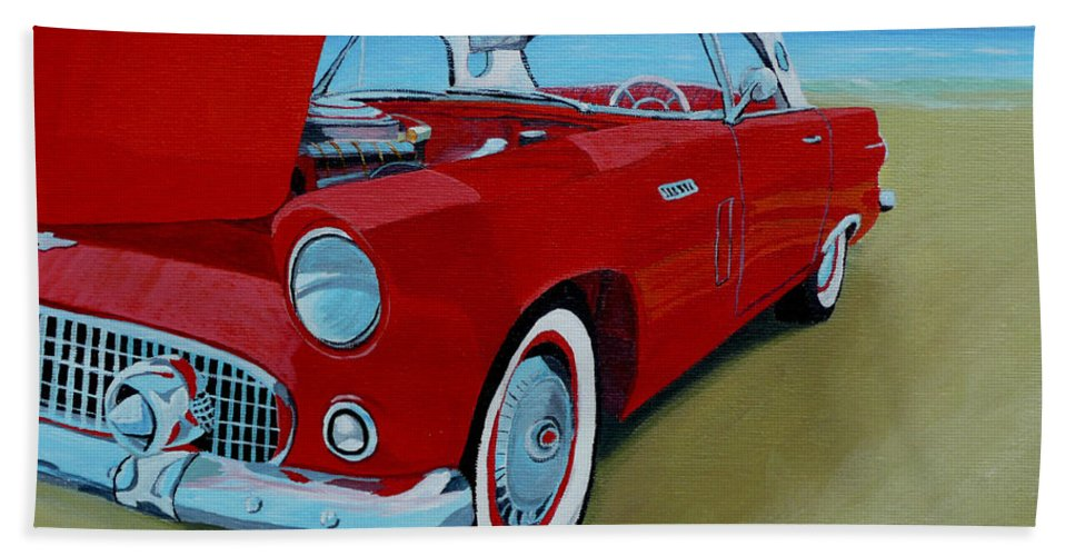 Car Hand Towel featuring the painting Thunder Bird by Anthony Dunphy
