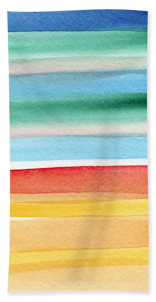 Beach Landscape Painting Hand Towel featuring the painting Beach Blanket- colorful abstract painting by Linda Woods