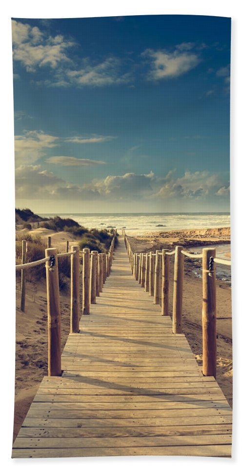 Beach Boardwalk Bath Sheet featuring the photograph Beach Boardwalk by Marco Oliveira