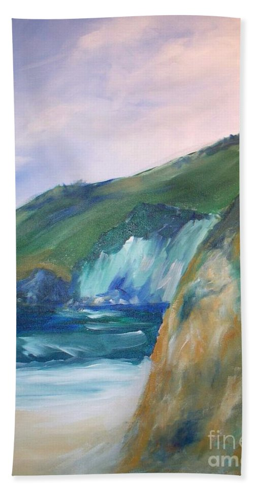 California Coast Hand Towel featuring the painting Beach California by Eric Schiabor