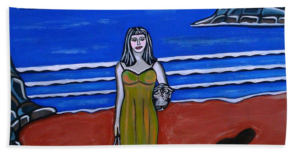 Beach Paintings Hand Towel featuring the painting Beach Chic by Sandra Marie Adams