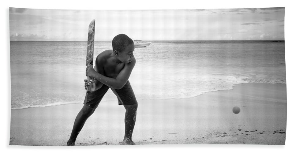 Antigua And Barbuda Bath Sheet featuring the photograph Beach Cricket by Ferry Zievinger
