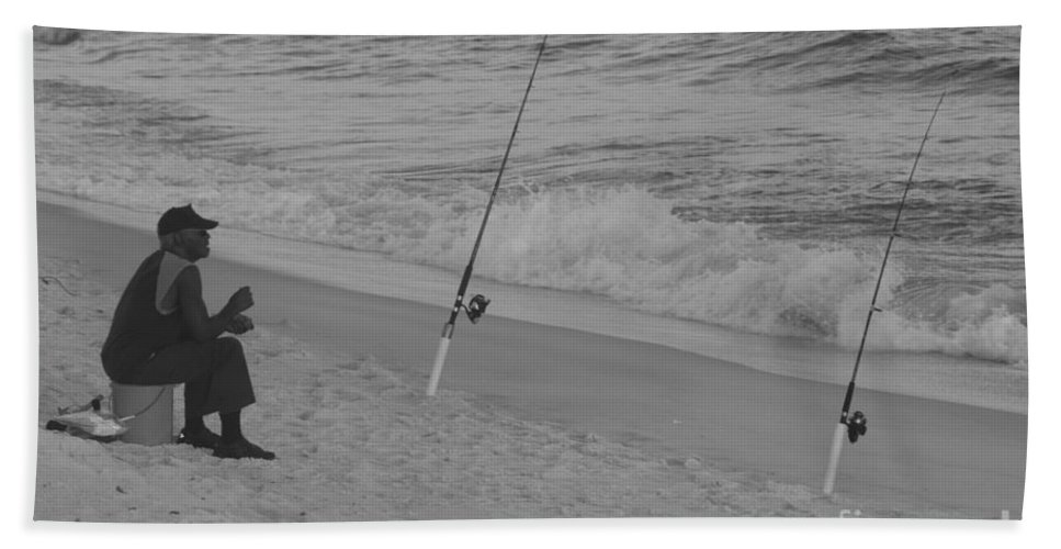 Beach Fishing Hand Towel featuring the photograph Beach Fishing by Michelle Powell