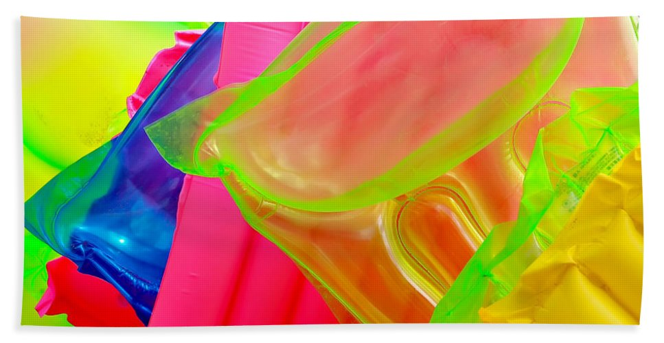 Float Bath Sheet featuring the photograph Beach Floats by Art Block Collections