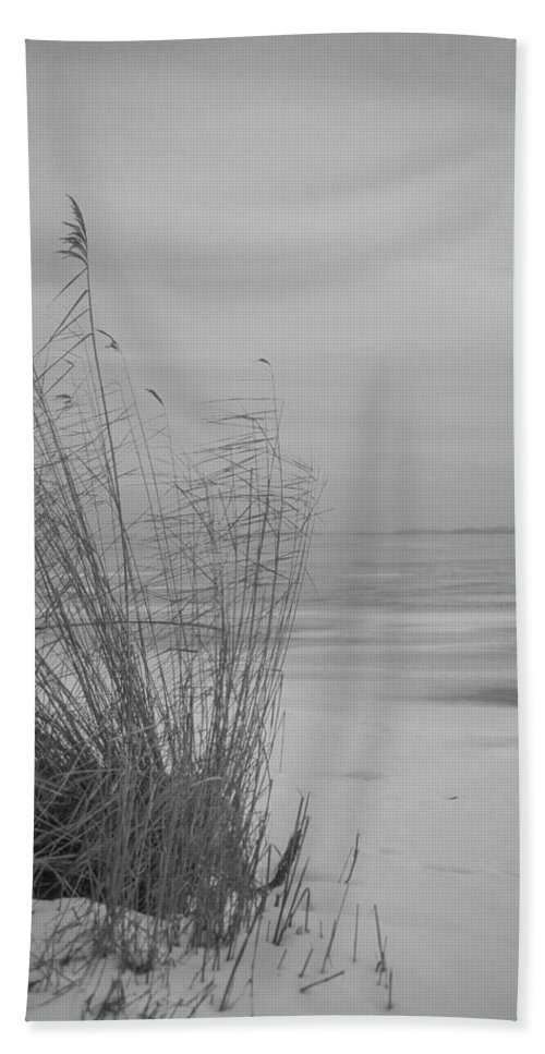 Island Of Ruegen Hand Towel featuring the photograph Beach Grass In The Snow by Ralf Kaiser