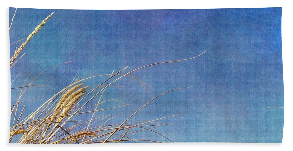 Beach Hand Towel featuring the photograph Beach Grass In The Wind by Michelle Calkins