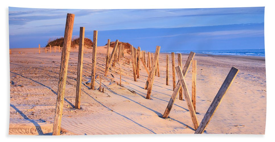 Beach Hand Towel featuring the photograph Beach In Morning Light North Carolina by Carol VanDyke