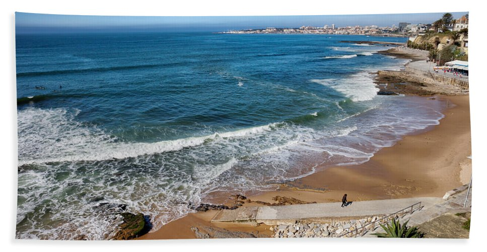 Estoril Hand Towel featuring the photograph Beach In Resort Town Of Estoril by Artur Bogacki