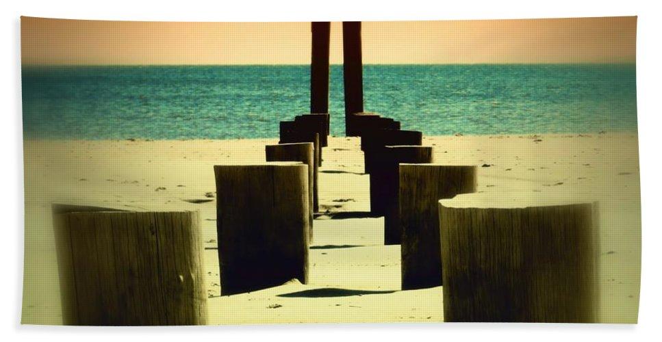 Pylon Bath Sheet featuring the photograph Beach Pylons by Sharon Woerner