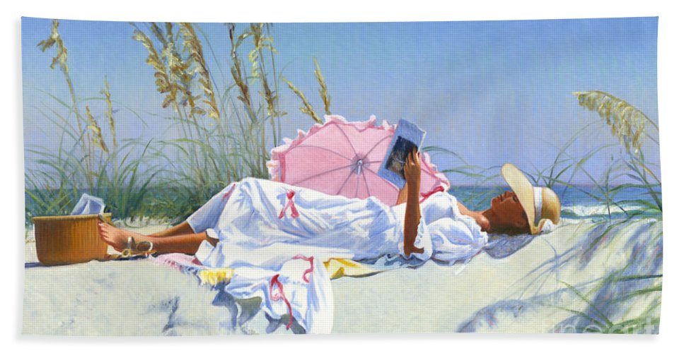 Impressionist Hand Towel featuring the painting Beach Recliner by Candace Lovely