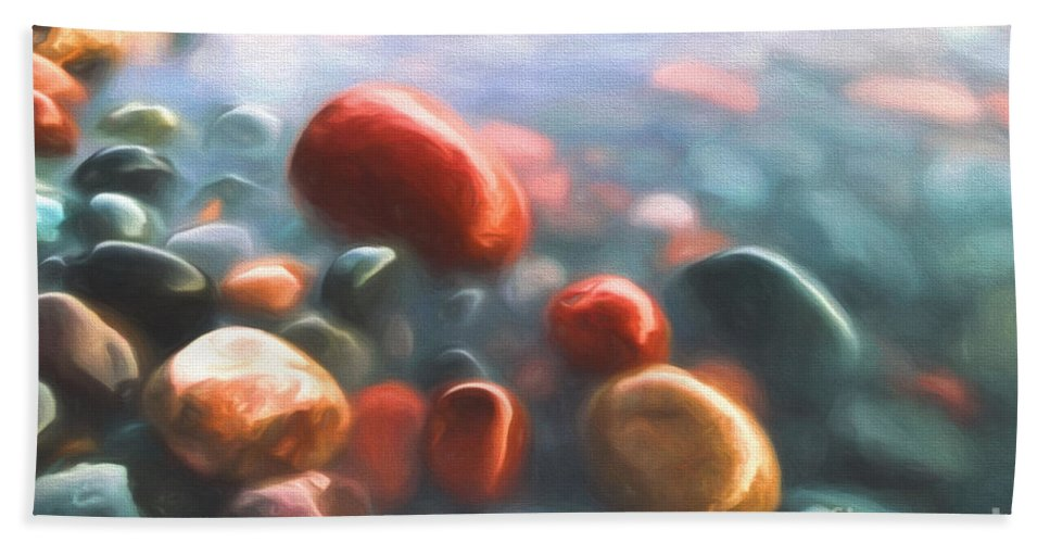 Abstract Bath Sheet featuring the painting Beach Rocks by Veikko Suikkanen