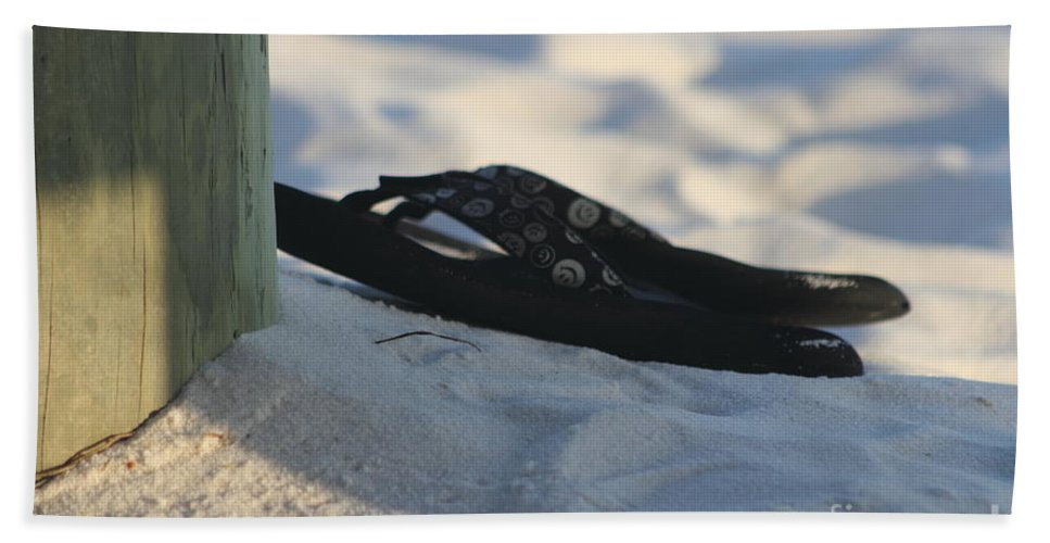 Beach Sandals Hand Towel featuring the photograph Beach Sandals 1 by Michelle Powell