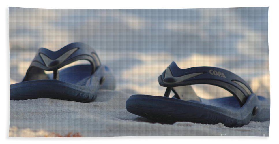 Ocean Hand Towel featuring the photograph Beach Sandals 3 by Michelle Powell