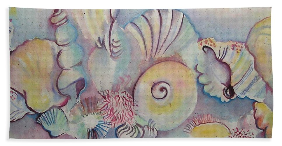 Watercolour Hand Towel featuring the painting Beach Shack And Sea Shells 1.3 by Cheryl Miller
