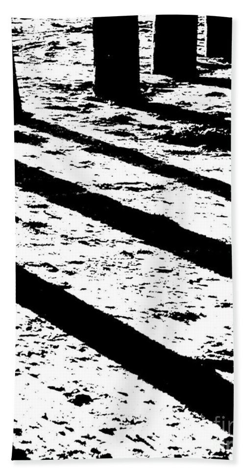 Black White Hand Towel featuring the photograph Beach Shadows by Lizi Beard-Ward