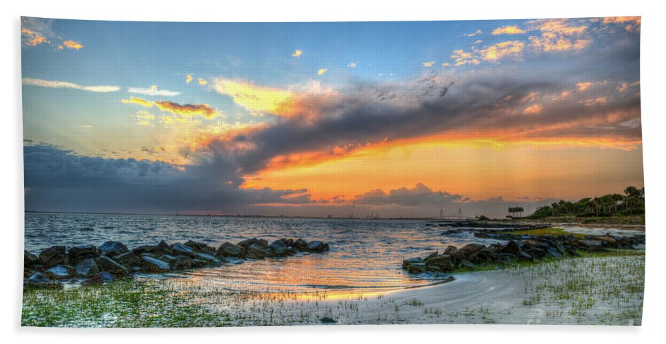 Sunset Hand Towel featuring the photograph Beach Sunset by Dale Powell