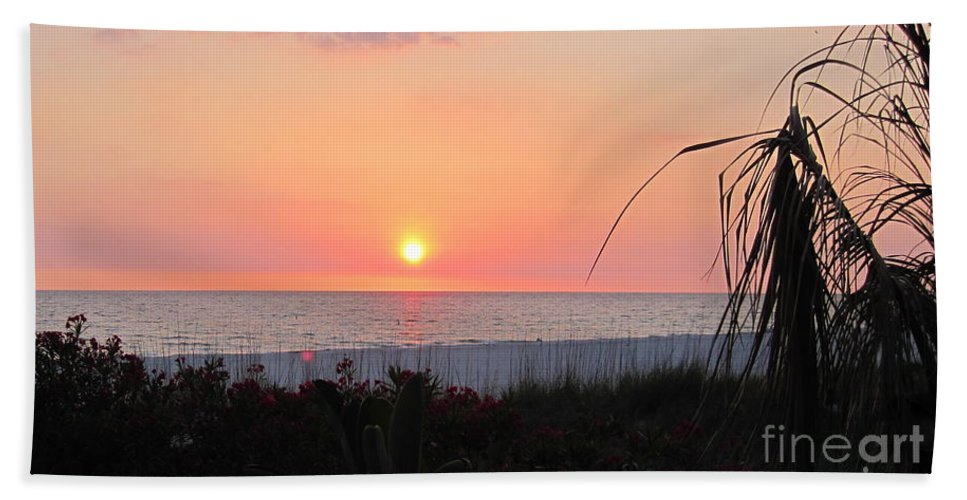 Sunset Hand Towel featuring the photograph Beach Sunset by Megan Cohen