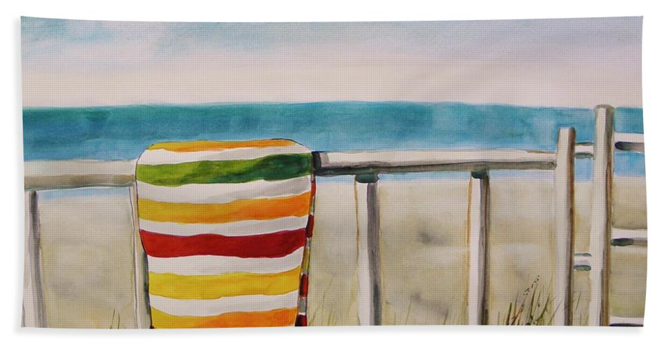 Striped Bath Sheet featuring the painting Beach Towel by John Williams