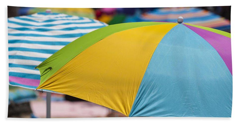 Umbrella Bath Towel featuring the photograph Beach Umbrella Rainbow 1 by Scott Campbell