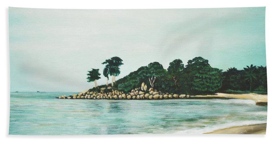 Beach Hand Towel featuring the painting Beach by Usha Shantharam