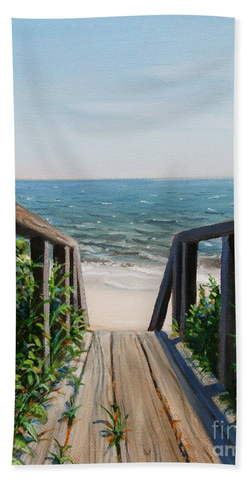 Beach Hand Towel featuring the painting Beach Walk Way by Paul Walsh
