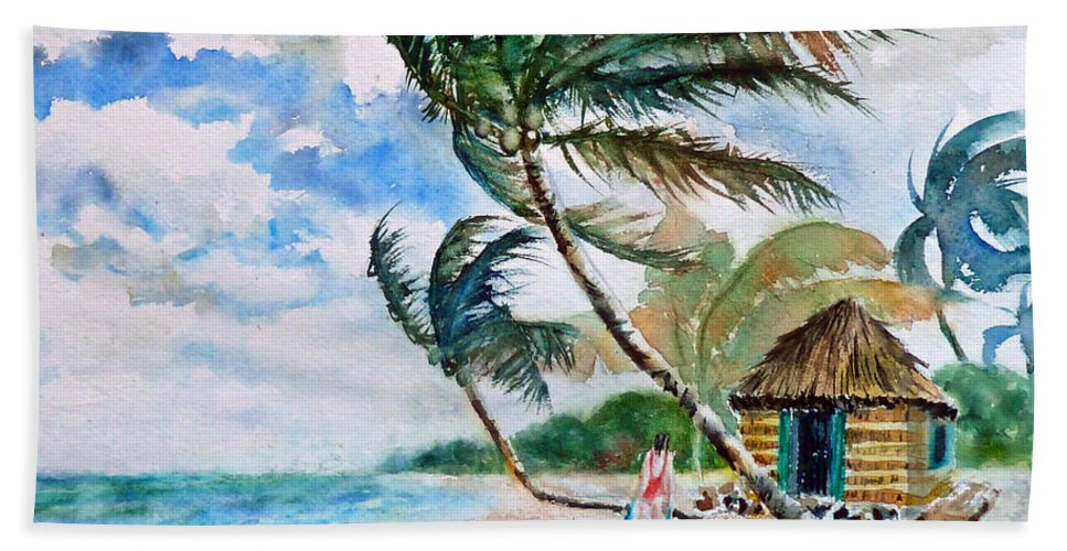 Beach With Palm Trees Hand Towel featuring the painting Beach With Palm Trees by Carolyn Jarvis