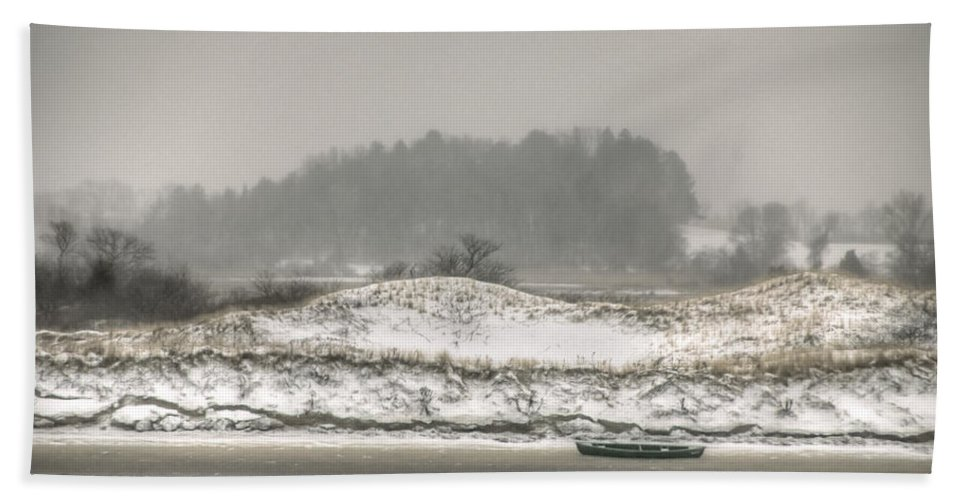 Cedar Point Hand Towel featuring the photograph Beached Boat Winter Storm by David Stone