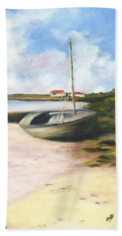Beach Bath Towel featuring the painting Beached by Deborah Butts