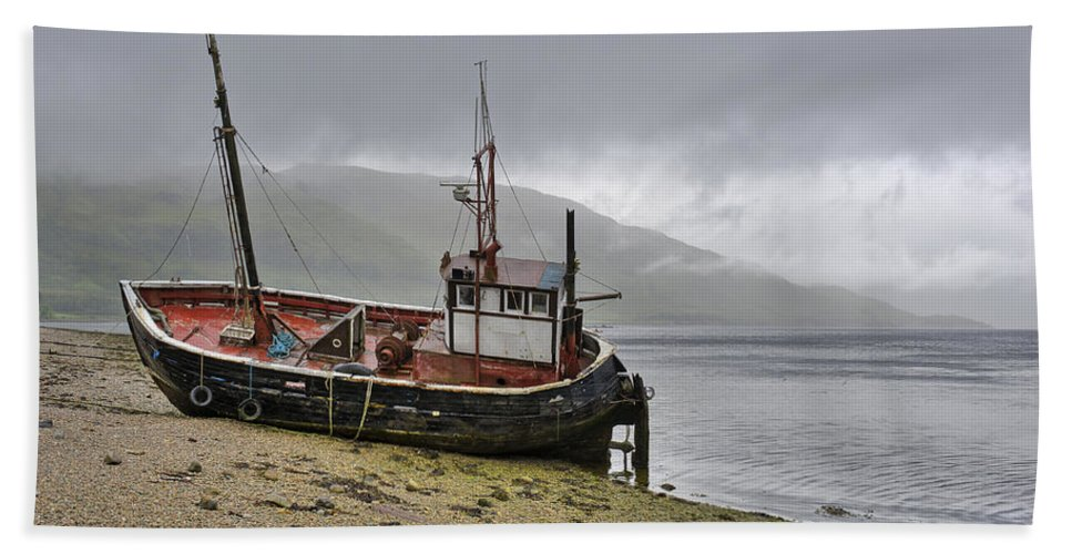 Boat Hand Towel featuring the photograph Beached Fishing Boat by Gary Eason