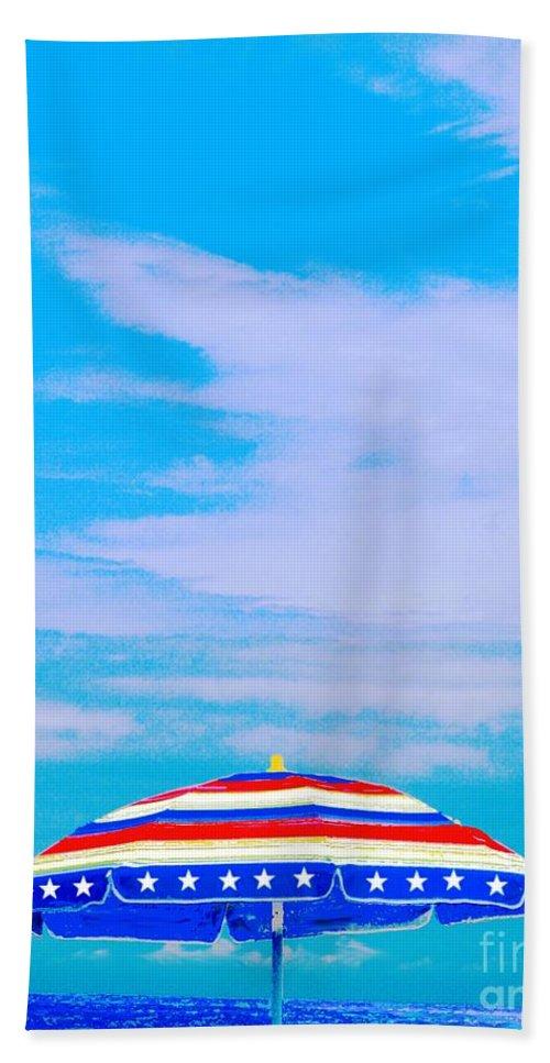 Beach Bath Sheet featuring the digital art Beachtime Usa by Lizi Beard-Ward
