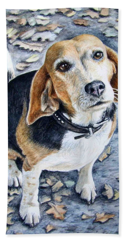 Dog Hand Towel featuring the painting Beagle in Autumn by Nicole Zeug