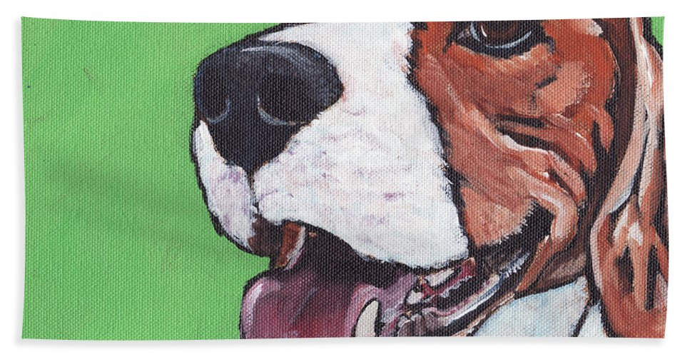Beagle Hand Towel featuring the painting Beagle Timo by Greg and Linda Halom