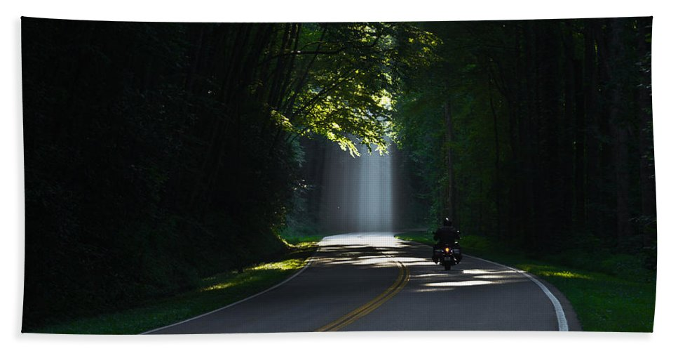 Reid Callaway Motorcycle Bath Sheet featuring the photograph Beam Me Up The Great Smoky Mountains by Reid Callaway