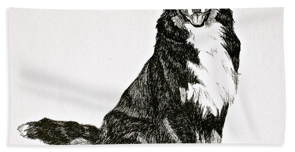 Bernese Mountain Dog Bath Sheet featuring the drawing Beaming Berner by Susan Herber