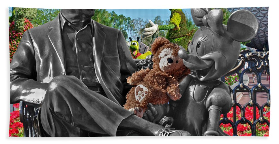 Fantasy Bath Sheet featuring the photograph Bear And His Mentors Walt Disney World 03 by Thomas Woolworth