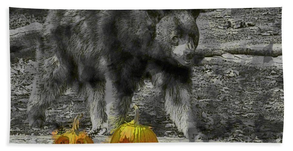 Bear Hand Towel featuring the photograph Bear And Pumpkins by Alice Gipson