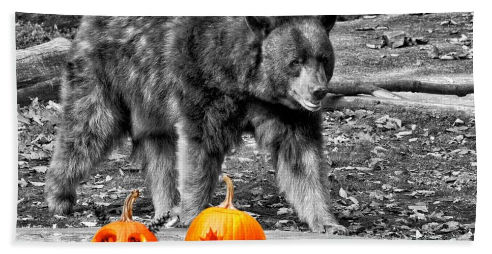 Bear Hand Towel featuring the photograph Bear And Pumpkins Too by Alice Gipson