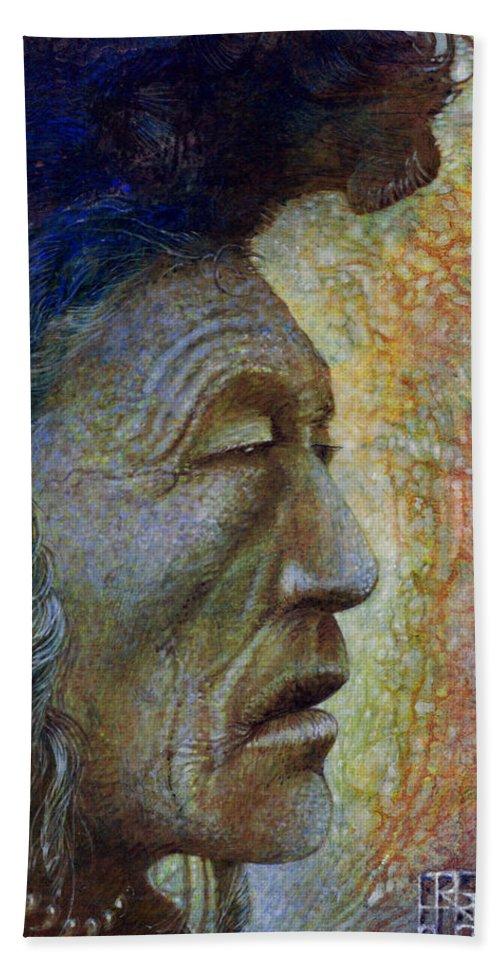 Bear Bull Hand Towel featuring the painting Bear Bull Shaman by Otto Rapp