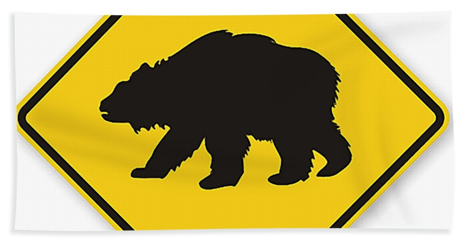 Bear Crossing Sign Hand Towel featuring the digital art Bear Crossing Sign by Marvin Blaine