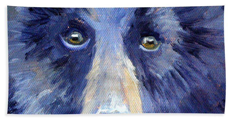 Bear Bath Sheet featuring the painting Bear Face by Nancy Merkle
