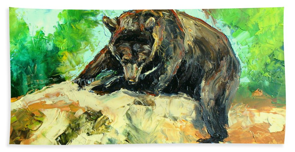 Impressionism Hand Towel featuring the painting Bear by Luke Karcz