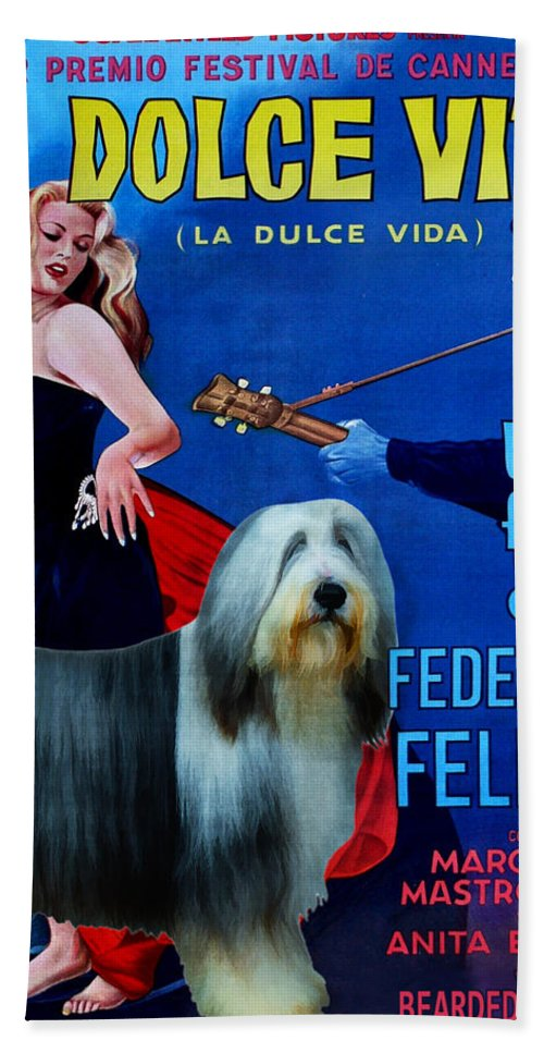 Bearded Collie Bath Towel featuring the painting Bearded Collie Art Canvas Print - La Dolce Vita Movie Poster by Sandra Sij