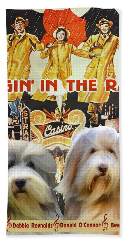Bearded Collie Hand Towel featuring the painting Bearded Collie Art Canvas Print - Singin In The Rain Movie Poster by Sandra Sij