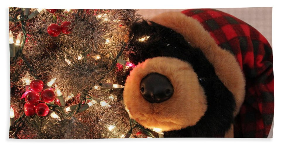 Bear Bath Sheet featuring the photograph Beary Merry Christmas by Donna Jackson